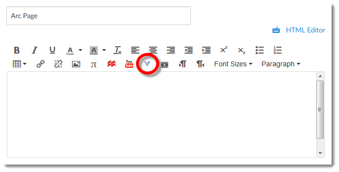 """Canvas Rich Content Editor with the """"More External Tools"""" option highlighted"""
